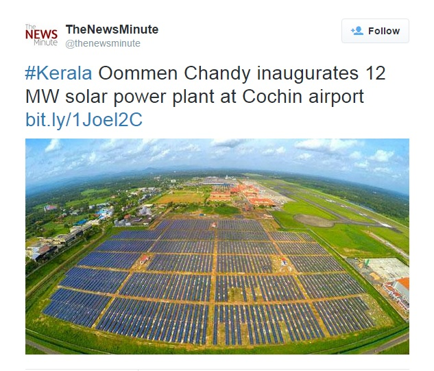 Kerala Oommen Chandy Airport Solar Energy Power Plant