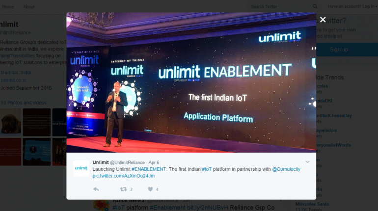 Reliance Launches Unlimit Enablement IoT Platform With Cumulocity